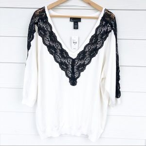 Lane Bryant White with Black Lace V-Neck Sweater